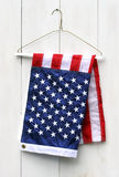 American flag folded with clothes hanger Stock Photography