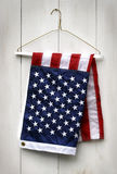 American flag folded with clothes hanger Stock Photos