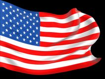 American flag with folds and ripples Royalty Free Stock Photo