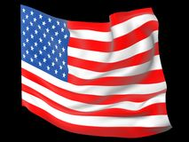 American flag with folds and waves. American flag waving on the wind with folds and waves 3D generated vector illustration