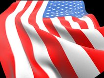American flag with folds and waves. US flag waving on the wind with folds and waves 3D CG stock illustration