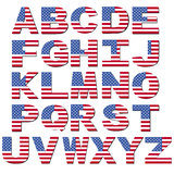 American flag font. Isolated on white illustration