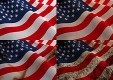 American Flag four different stages of age. Royalty Free Stock Photo