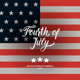 American flag and Fourth of July modern calligraphy composition. Royalty Free Stock Photography