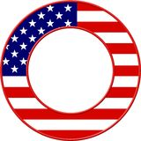 American Flag Frame. American flag set in a circular picture frame border design Stock Photo