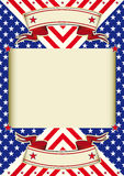 American flag frame background. A poster with a large beige frame for your text Vector Illustration