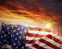 American flag. In front of bright sky Stock Image