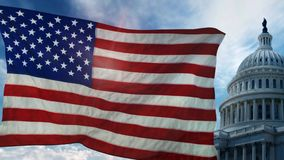 American Flag in Front of Capital Building 4K. Features an American flag waving in the wind with the Capitol building and moving clouds in the background with a stock footage