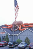 American flag in front of Lobster Restaurant, Lobster, ME Royalty Free Stock Photo