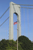 American flag in the front of Verrazano Bridge in Staten Island Royalty Free Stock Photos