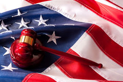 American Flag  and Gavel Legal System concept. Usa Flag  and Gavel Legal System concept Royalty Free Stock Photo