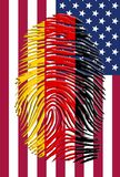 American Flag with German flag fingerprint. This image created in entirety by me and is entirely owned by me and is entirely legal for me to sell and Royalty Free Stock Image