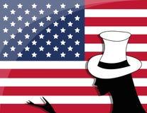 American flag and girl Stock Photography
