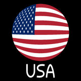 American flag in globe form and word USA Stock Photography