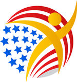 American flag globe man Royalty Free Stock Image