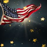 American flag with gold shining stars. royalty free stock photography