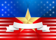 American flag with gold star and ribbon. EPS 10 vector illustration