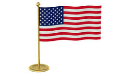 American flag on the golden stand Stock Photo