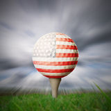American flag golf ball. American flag printed onto golf ball on fairway Royalty Free Stock Images