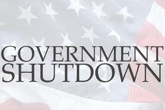 American flag with government shutdown words royalty free stock photography
