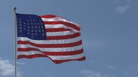 American flag at the Governors island in New York City stock video footage