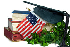 American flag with graduation hat Stock Image
