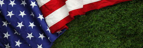 American flag on grass for Memorial Day or Royalty Free Stock Photos