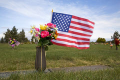 American flag on grave Royalty Free Stock Photos