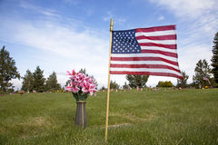 American flag on grave Royalty Free Stock Images