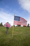 American flag on a grave Stock Images