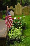 American flag on grave Stock Photography