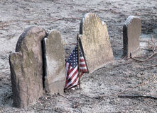 American flag and gravestones Stock Photos