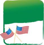 American flag on green banner stock illustration