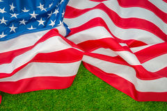 American flag on green grass. Stock Image