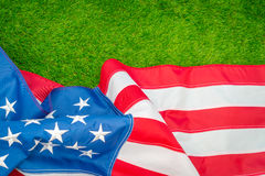 American flag on green grass. Royalty Free Stock Photo