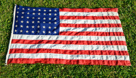 American flag on green grass Royalty Free Stock Photo