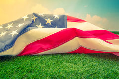 American flag on green grass  ( Filtered image processed vintage Stock Photos