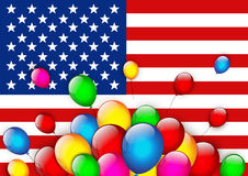 American flag greeting with balloons. Vector Vector Illustration