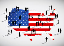 American flag and a group of business people Stock Images