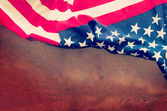 American flag on grunge wooden background Stock Photography