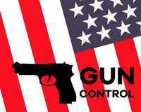 American flag and gun with `Gun Control` sign royalty free illustration