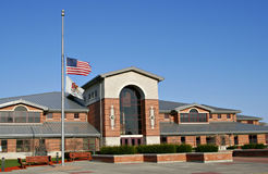 American Flag at half-mast stock image