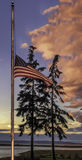 American Flag at Half Staff Royalty Free Stock Photo