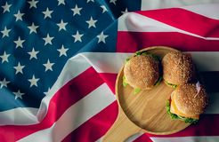 American flag and hamburger which is the symbol of the country stock photo