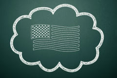 American Flag. Hand drawing american flag on the blackboard Stock Photography