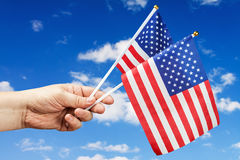 American flag in hand Royalty Free Stock Image