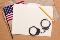 American Flag and Handcuffs Stock Photos