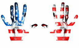 American flag handprints. On white background royalty free stock image
