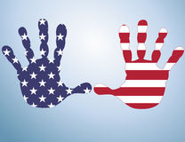 American flag on handprints Royalty Free Stock Photography