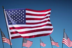 American Flag hanging on the pole flutter Royalty Free Stock Photography